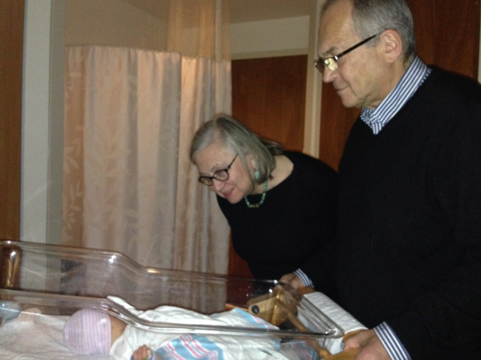 Grandparents seeing Mila for the first time