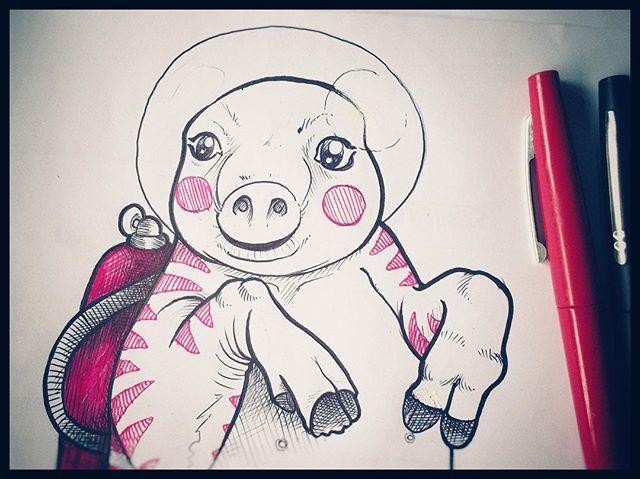 #pig #cochon #sketch #apesanteur #pink