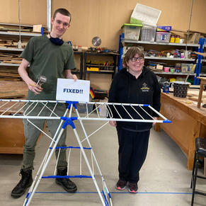 Jack and Hayley are happy with fixed clothes airer and a hand grater that now has a new life with a newly crafted wooden handle.