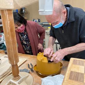 Sarina is in awe of Kevin's handywork on her vintage crockpot.