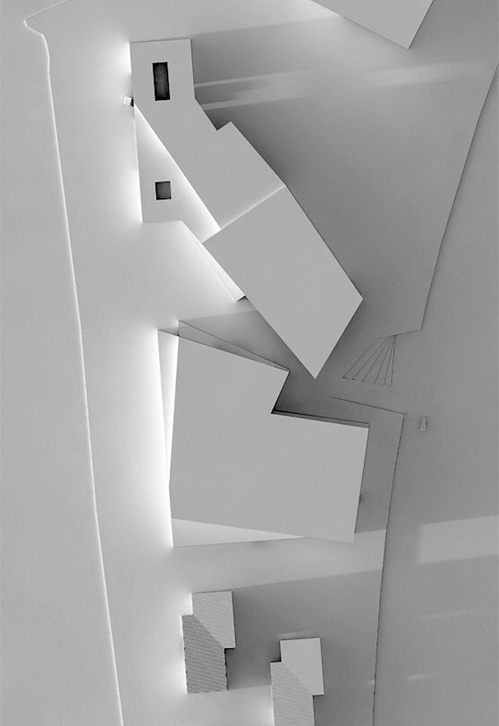 Ein Rendering eines Gebäudekomplex von oben.