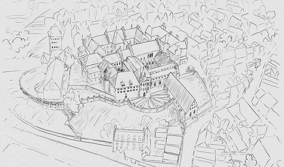 Eine schwarz-weiße Illustration des Burghügels in Lübek