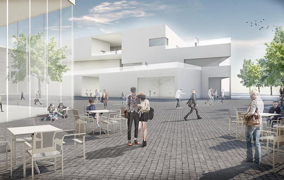 Eine Visualisierung eins Innenhofes mit mehreren Menschen auf einem Campus.