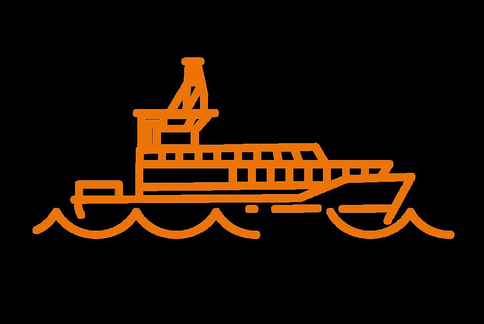Eine Strichgrafik eines Schiffes mit Wellen.
