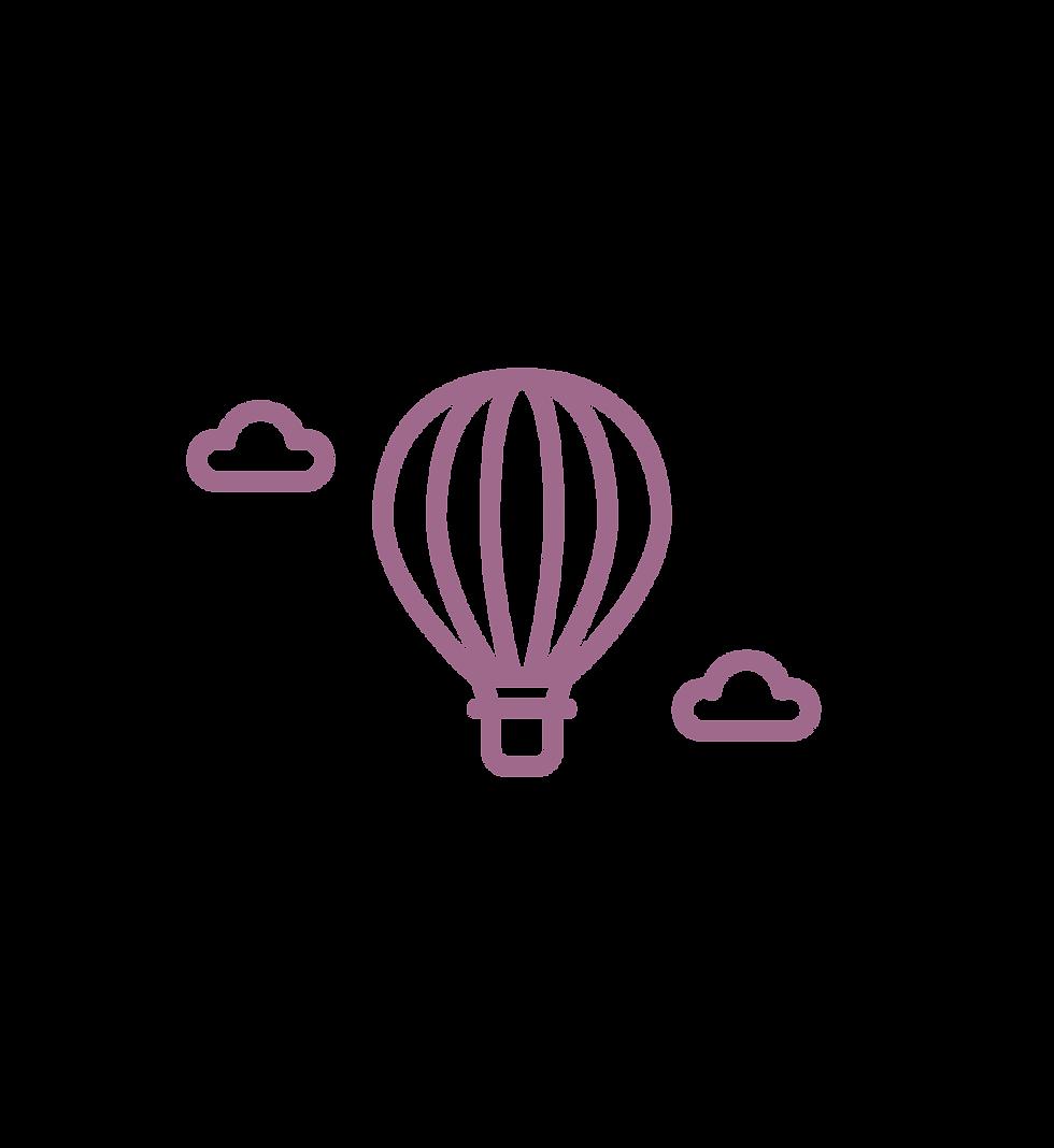 Eine Strichgrafik eines Heißluftballons in lila.