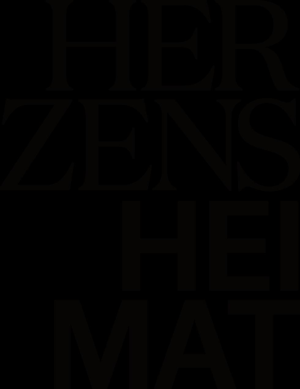 Das Logo der Ausstellung Herzensheimat mit schwarzen Buchstaben.
