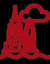 Eine rote Vektorgrfik zweier Hochhäuser