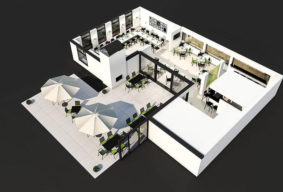 Ein Blick von oben auf ein Architekturmodell eines Tennisclubheim ohne Dach. Sitzbereich auf der Terrasse und im Innenbereich ein Restaurant.