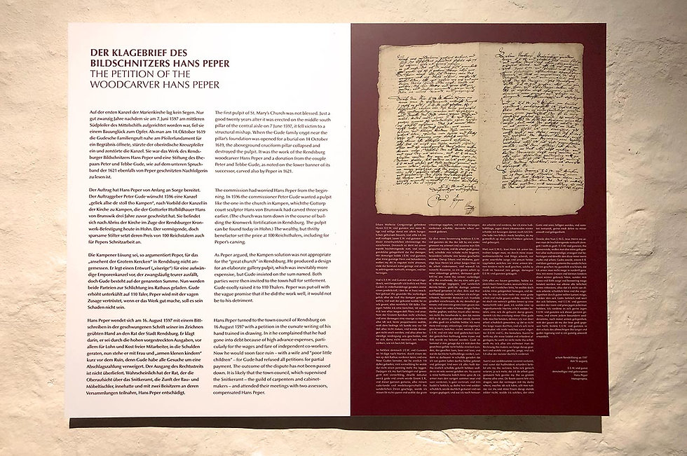 Eine Texttafel zum Thema Klagebrief von Hans Peper.