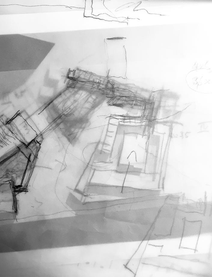 Eine Handskizze eines Gebäudes mi Bleistift.