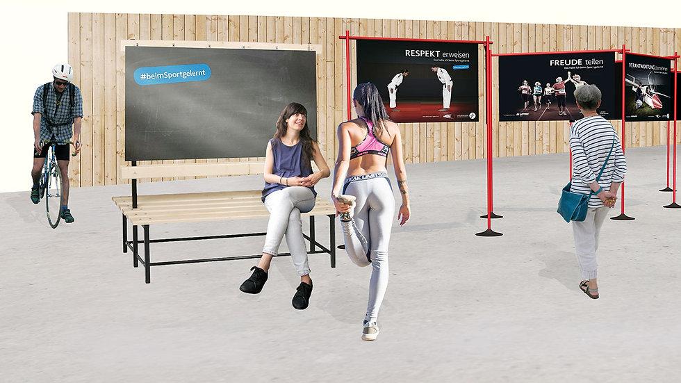 Eine Visualisierung einer Wanderausstellung mit einer Frau auf einer Bank, einem Fahrradfahrer, einer Joggerin und einer alten Dame.