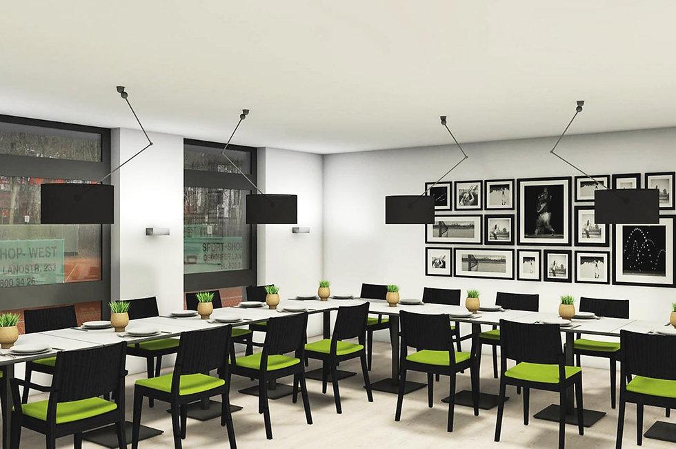 Ein Clubraum mit einer L-förmigen Sitztafel an der schwarze Stühle mit grünen Sitzpolstern stehen. An der Wand hänge schwarz-weiß Fotografien vn Tennisspieler:innen.