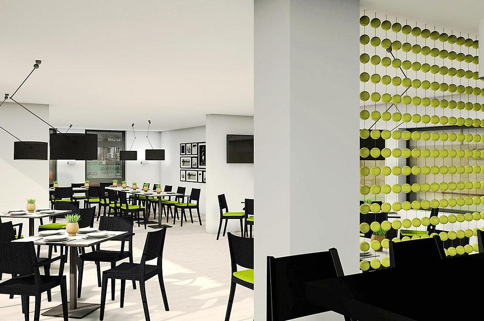 Innenbereich eines Restaurant in einem Tennisclubheim. Eine Trennwand aus Tennisbällen im Vordergrund.