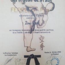 Certificat de 2éme DAN