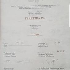 Ma Certificat de 1ére DAN