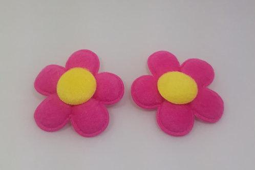 Aplique Flor em poliéster de 5 cm com 2 unidades