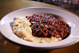 Texas Red Chili over White Cheddar Grits