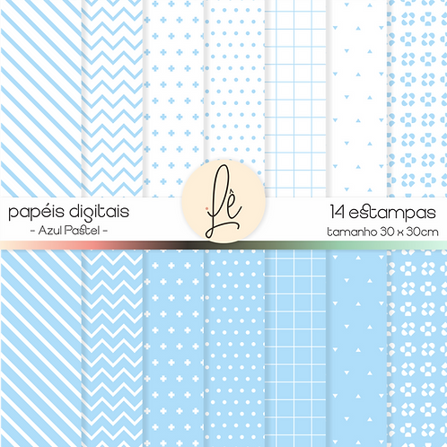 Kit Papéis Digitais - Azul Pastel