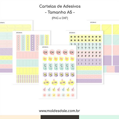 Cartela de Adesivos - Caderno de Memórias