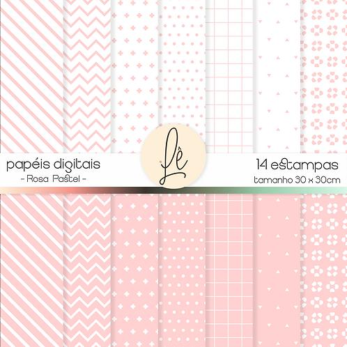 Kit Papéis Digitais - Rosa Pastel