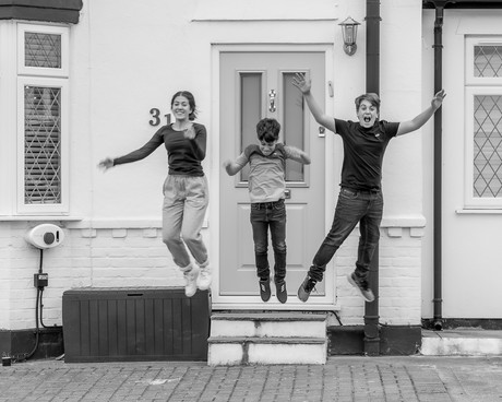 Brother & Sister Family doorstep photo during Lockdown 2020 - Adam Soller Photography