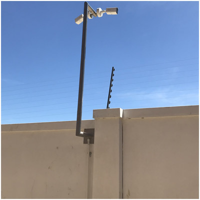 Perimeter Surveillance a Small Estate Cape Town, High definition low light cameras fitted to a Custome made stainless steel bracket