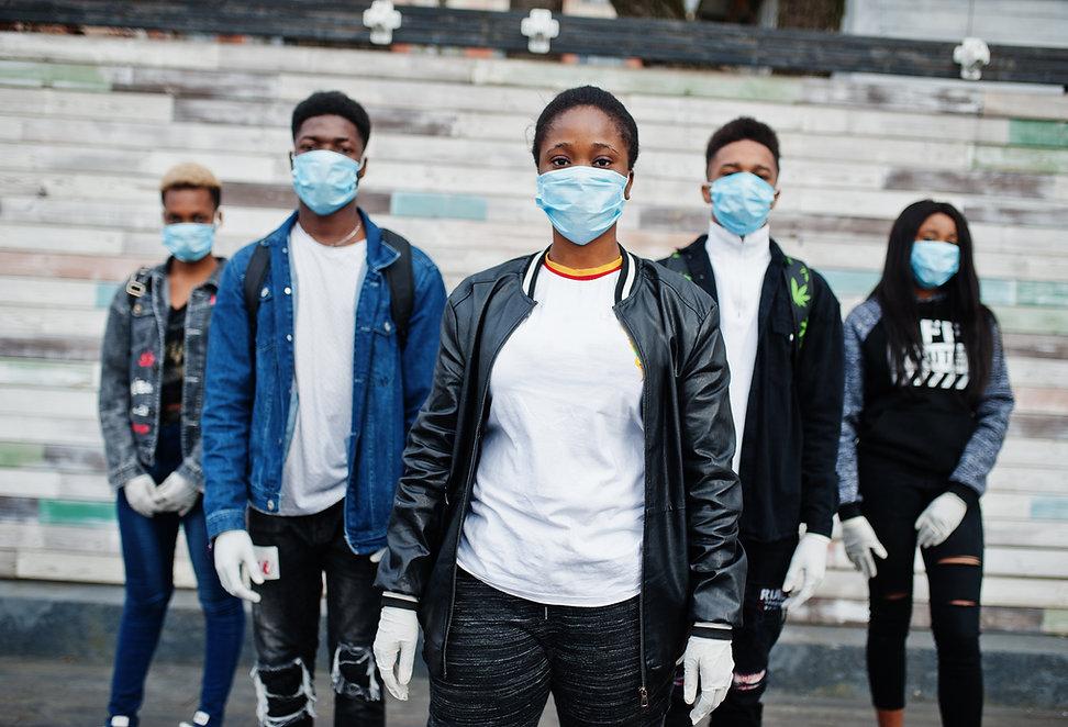 Group of african teenagers friends weari