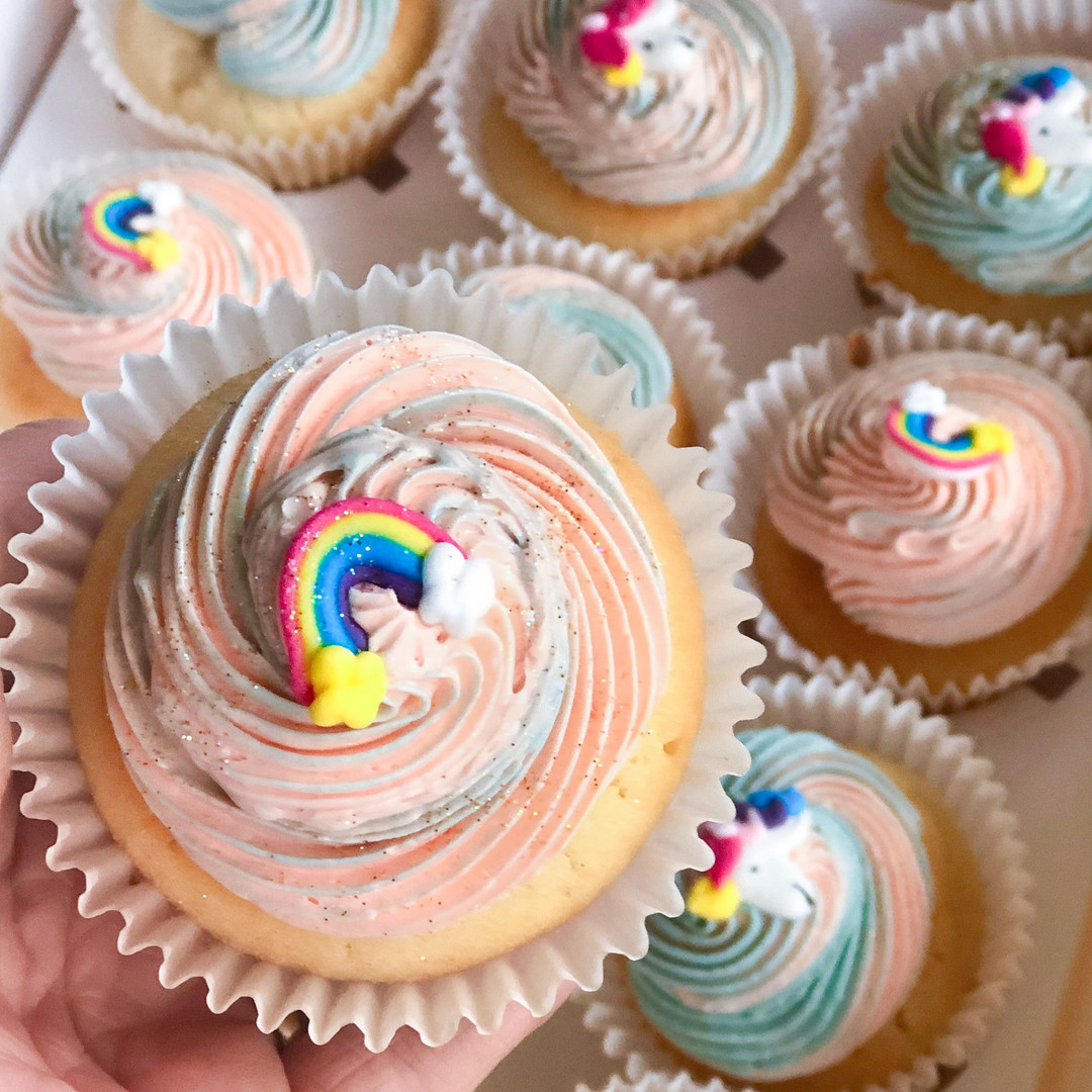 Light Vanilla w/ Strawberries and Cream Buttercream (Unicorn Poo Cupcakes)