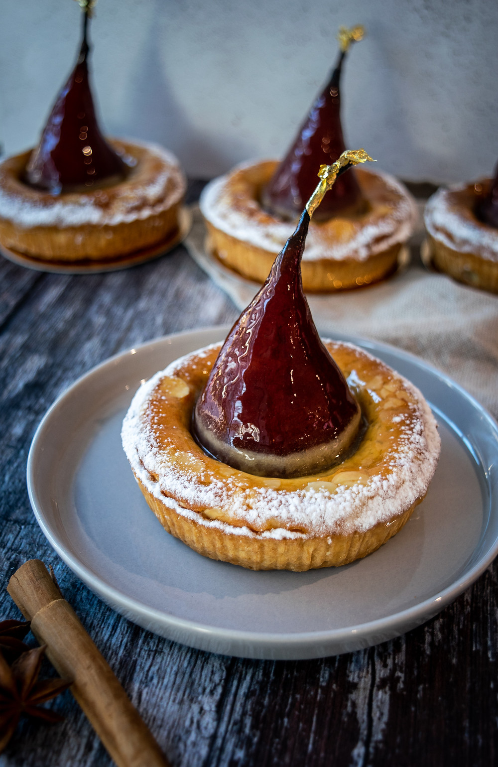 Mulled Wine Pear & Almond Tarts