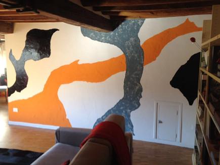 Arte a muro in un appartamento nel centro di Firenze