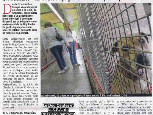 Presse : Collaboration entre SPA de Charleroi et le Dog Center !
