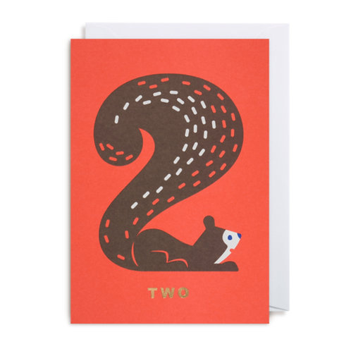 Card - Number Two Squirrel