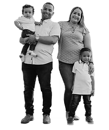a family photo- a man, woman and two young children
