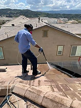 Speedy's Pest Solutions Service Technician removing pigoen droppingsfrom roof tile