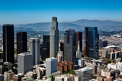 This is an image of downtown Los Angeles city towers and is an image that is labled for reuse and remodification