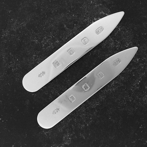 Collar Stiffeners. Sterling Silver Collar stiffeners with a feature Hallmark.