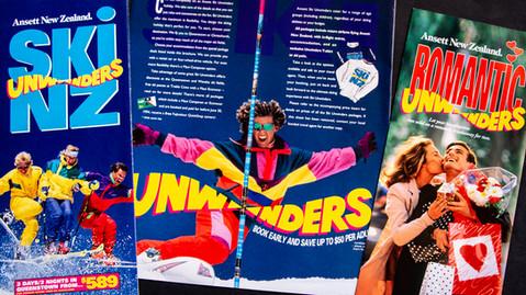 Ansett New Zealand Unwinders holiday brochures