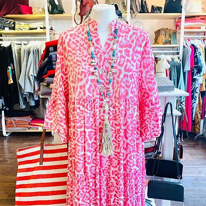 Langes Leo-Kleid in Pink