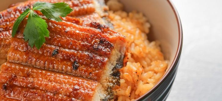 日式鳗鱼饭 Unagi Donburi - Aal Kabayaki auf Sushireis