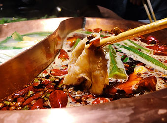 Delicious Chinese hot pot with chili sou