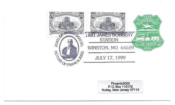 Cancelled Jesse James Station Envelope 3209f U582