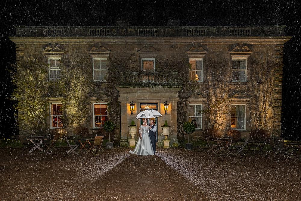 wedding photograph eshott hall rain