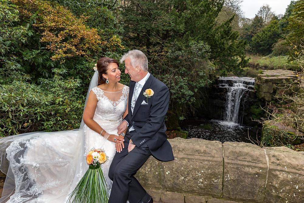 wedding photographer jesmond dene waterfall