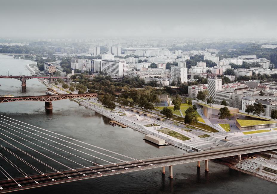 Vistula Boulevards competition project: M. Błeszyńska/M. Kasińska/M. Piwowarski -- aerial photoghaphy: ra2nski - 2017