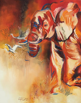 CHASING BIRDS - OIL ON 100% COTTON CANVAS - 70 x 90 cm
