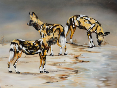 AT THE WATERHOLE - OIL ON CANVAS - 90 x 120 cm