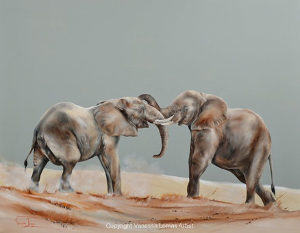 PLAYFULL YOUNGSTERS, ELEPHANTS - 120 x 155 cm