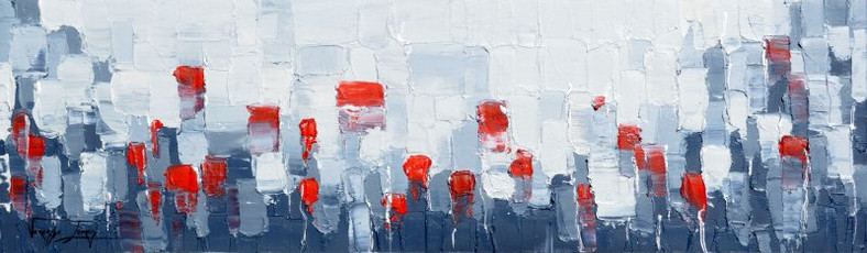25 RED ROSES - OIL ON CANVAS - 40 x 95cm