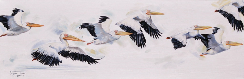 FLIGHT OF THE PELICANS - OIL ON CANVAS - 40 x 121 cm