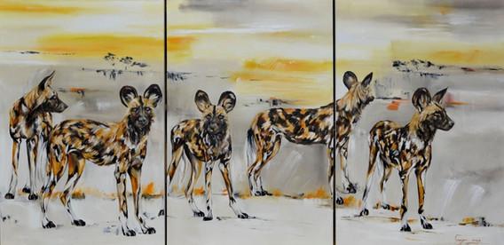 SAVANNA WILD DOG TRI-PAINTING - OIL ON CANVAS - 1.5 x 3.5 m